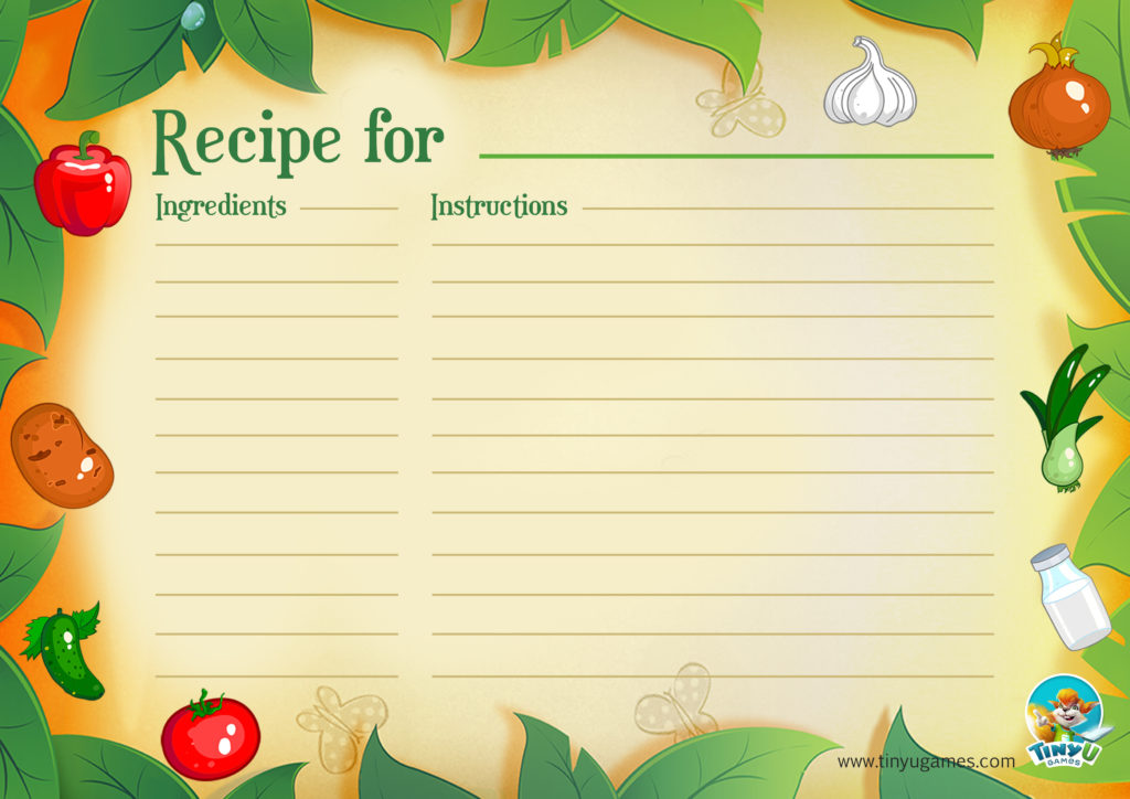 Recipe card vegetables