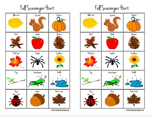 Fall Scavenger Hunt – Free Printable