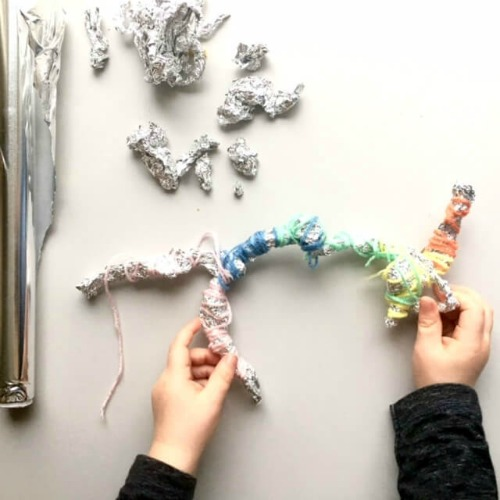foil and wool sculpture from aluminium foil